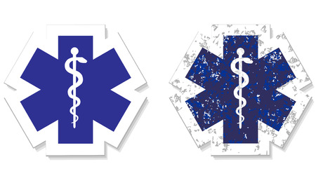 Medical symbol of the Emergency icon grunge sticker vector eps 10 Vector