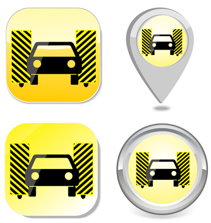 Car wash icon button sticker point marker eps 10 Vector