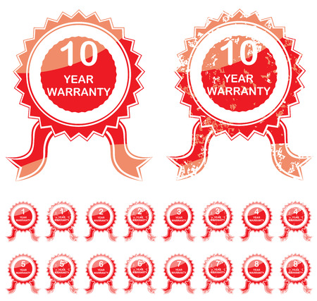 Warranty red seal or rosette isolated on white background with copy space Stock Vector - 22959539