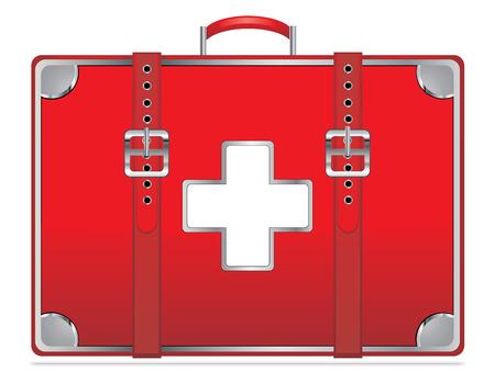 erste hilfe koffer: Erste-Hilfe-Kit auf wei�em Vintage EPS10 isoliert