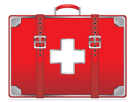 First aid kit vintage isolated on white EPS10 Vector