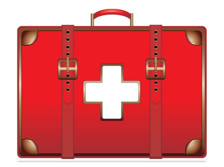botiquin de primeros auxilios: Botiquín de primeros auxilios vendimia aislado en blanco EPS10