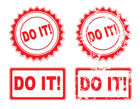 persevere: DO IT Rubber Stamp over a white Illustration