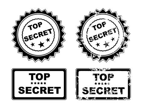 espionaje: Abstract grunge oficina sello de goma con el m�ximo secreto texto Vectores