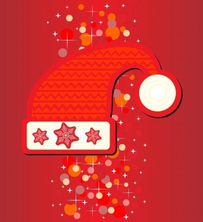 Santa hat on red background