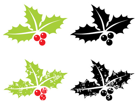 aquifolium: Holly berry grunge - Christmas symbol