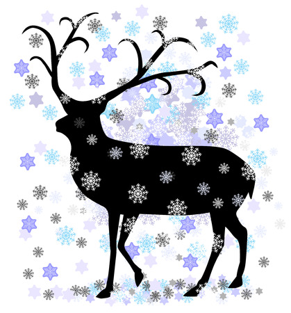 Reindeer with snow star vector illustration Vector