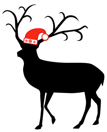 Reindeer with santa hat vector illustration Vector