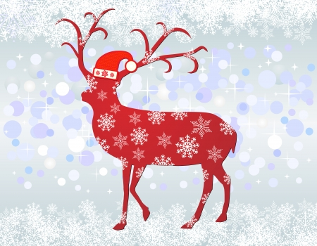 Reindeer with santa hat background Vector