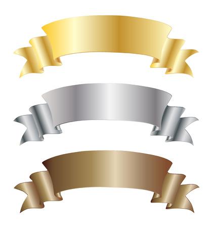 ゴールド × シルバーとブロンズのセット、テキストのリボンをベクトル