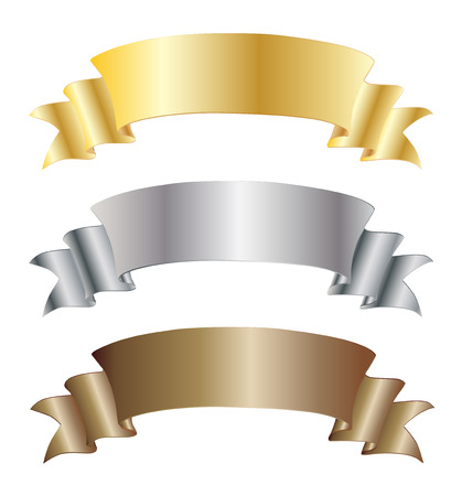 heading the ball: Set of gold silver and bronze vector ribbons for your text