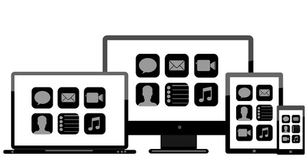 laptop monitor tablet mobile with icon Vector