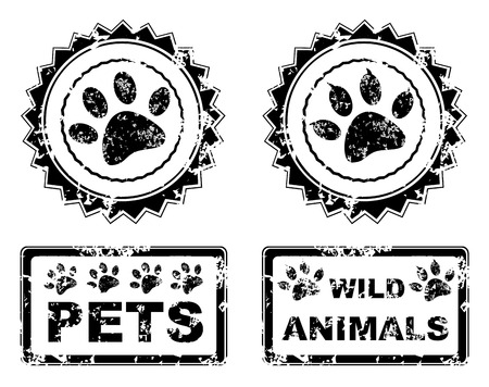 bear footprints: pets and wild animals stamp grunge