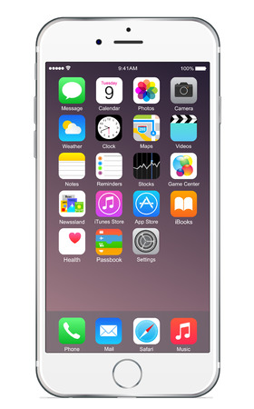 phone the clock: Iphone 6 plus silver Editorial