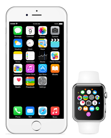 phone the clock: Iphone 6 Apple watch Editorial