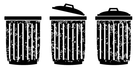 garbage can: Trash can set on white background vector  Illustration