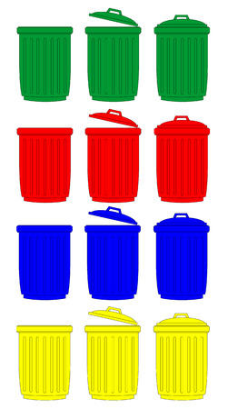 space rubbish: Recycle Bins Isolated vector  Illustration