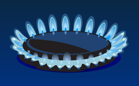 gas stove: Flames of gas stove in the dark Vector eps 10 Illustration