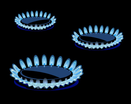 propane: Flames of gas stove in the dark Vector eps 10 Illustration