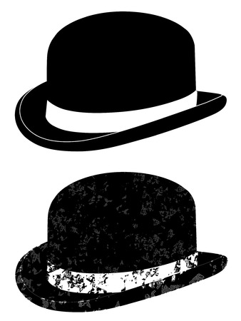 british culture: Black bowler hat on a white background vector