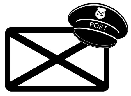 peaked cap: Postman peaked cap with letter