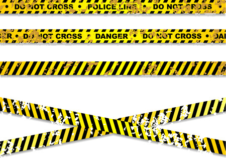 roped off: Police line and danger tapes Illustration