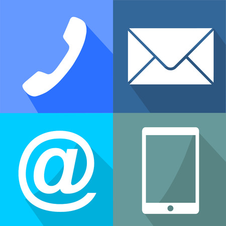 Contactez buttons set - email, enveloppe, téléphone, icônes mobiles eps 10 Illustration