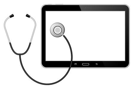 taking pulse: Stethoscope with tablet Illustration