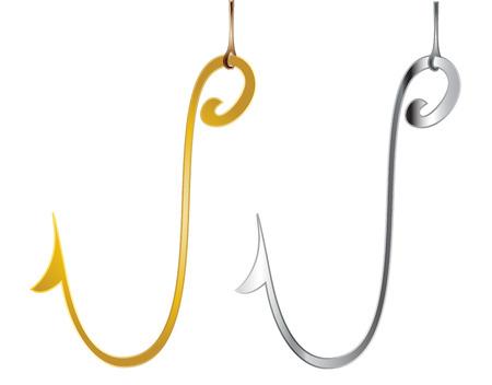 fishing hook: Gancio di pesca Vettoriali
