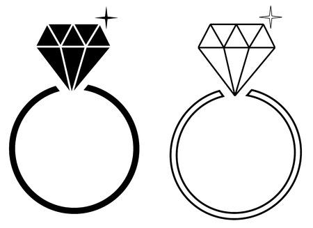engagement ring: Diamond engagement ring Illustration