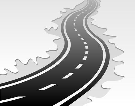 single lane road: winding road vector  Illustration