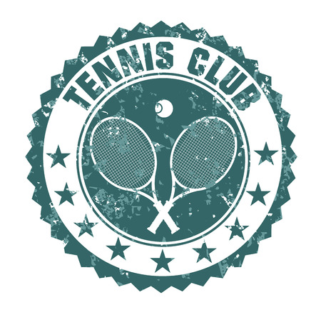 ilustration and painting: Tennis club stamp Illustration