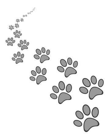 Cute dog or cat paw print, on white  background Çizim