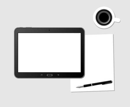 tablet: Workplace With Blank Digital Tablet