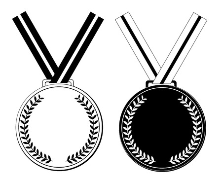 conquering adversity: medal of black and white design vector eps 10