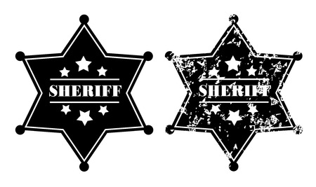 deputy: Black sheriff badges on white background
