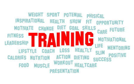 TRAINING word cloud, fitness, sports, health concept vector