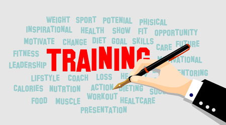 sports training: TRAINING word cloud, fitness, sports, health concept vector