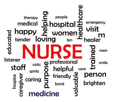 trained nurse: Nurse Word Cloud Concept Illustration