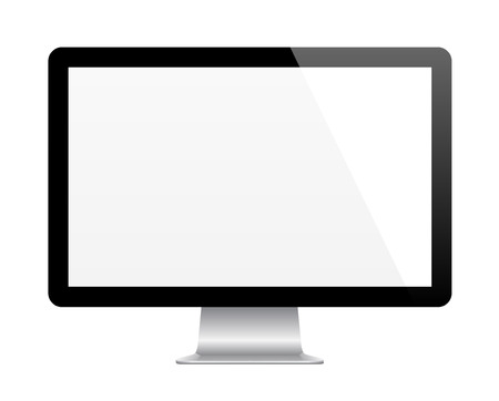 Modern computer monitor with blank screen. Isolated on white vector