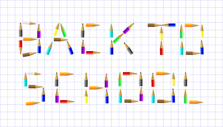 note pad and pen: Back to school poster - colorful crayons on white paper vecto
