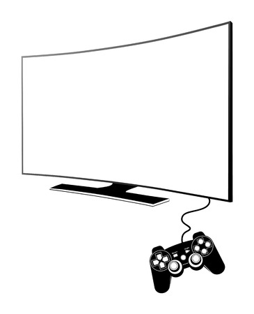 computer peripheral: Console with TV Illustration