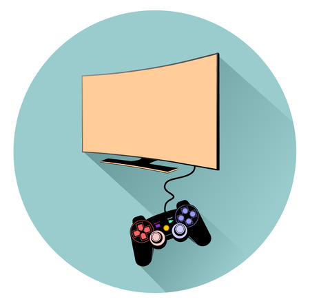 recreational pursuit: Console with TV Illustration