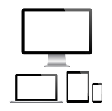 screen tv: Modern monitor, computer, laptop, phone, tablet