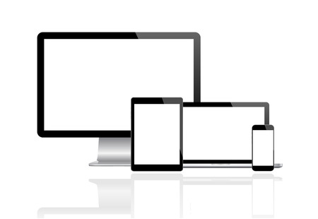 tablet computer: Modern monitor, computer, laptop, phone, tablet