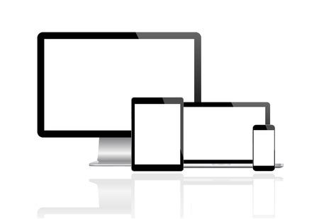 directorio telefonico: Monitor moderno, ordenador, portátil, teléfono, tableta