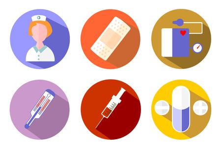 nursing home: color medicine icon set flat design vector eps 10 Illustration