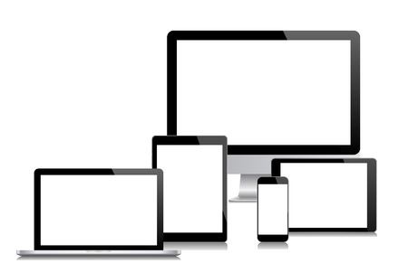 Modern monitor, computer, laptop, phone, a tablet on a white background vector eps 10