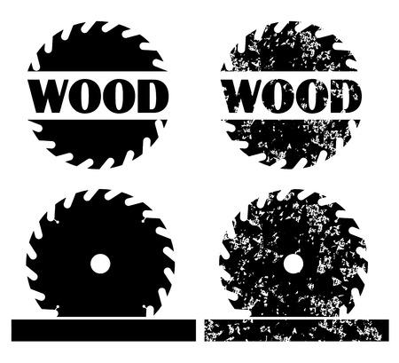 wood turning: Sawing wood logo set vector eps 10 Illustration