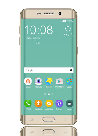 galaxie: Mobile mit Symbol auf dem Bildschirm